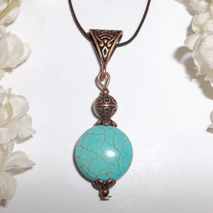 Faux Turquoise Blue And Copper Necklace NWT 4785